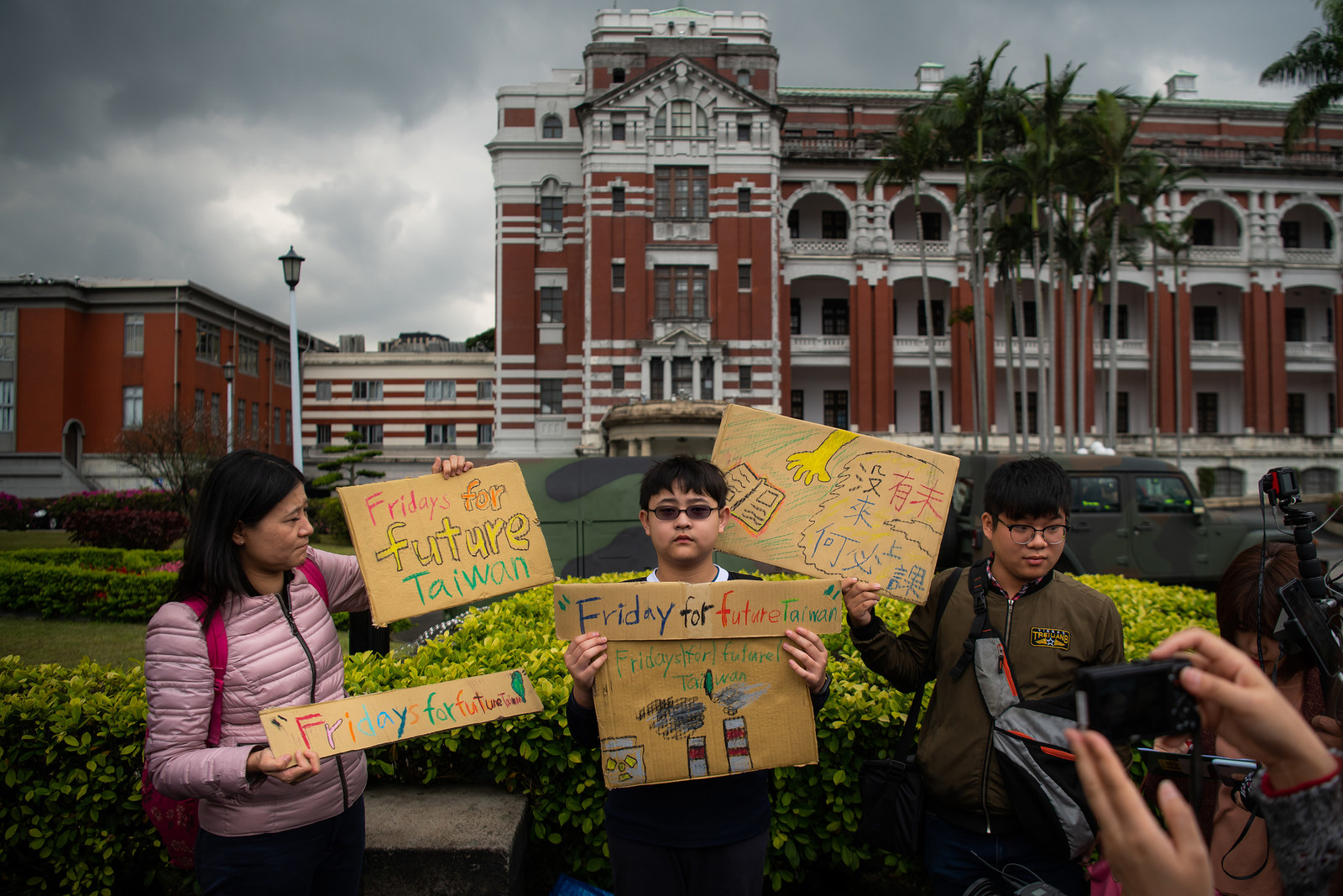 Students protest in front of the Presidential Palace in Taipei.