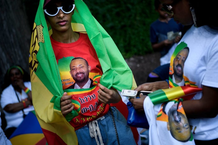 Supporters of Ethiopian Prime Minister Abiy Ahmed rally for US support outside the State Department on June 26, 2018, in Washington, DC.