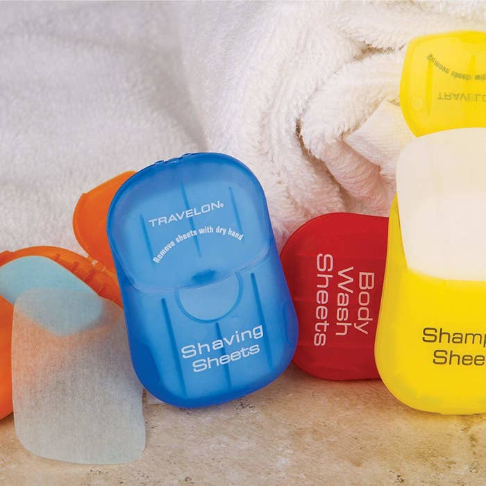 """Add water and the sheet will dissolve instantly. The packs also come in shaving, body wash, and hand soap versions.Promising review: """"This came in SO handy during my vacation to Europe! I was making lots of different stops to places with different types of weather. With these laundry soap sheets I was able to wash my clothes in the sink — letting me pack just the right amount of clothes for all the different places I went."""" —Katie FujarskiPrice: $4.30+ (available in five styles)"""