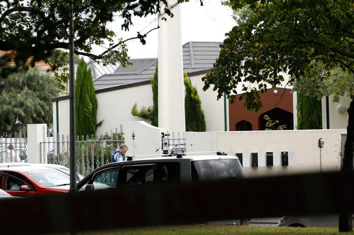 A security official stands guard outside the Al Noor mosque in Christchurch, New Zealand.
