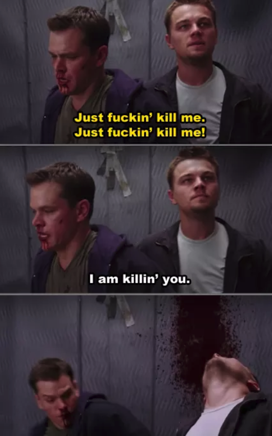 Leo DiCpario's character getting shot in the elevator
