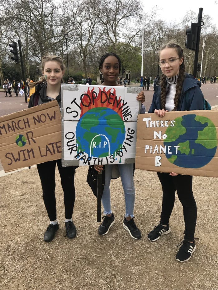 From left: Clara Denny, 15, Joy Rogers, 14, and Freya Burton, 14.