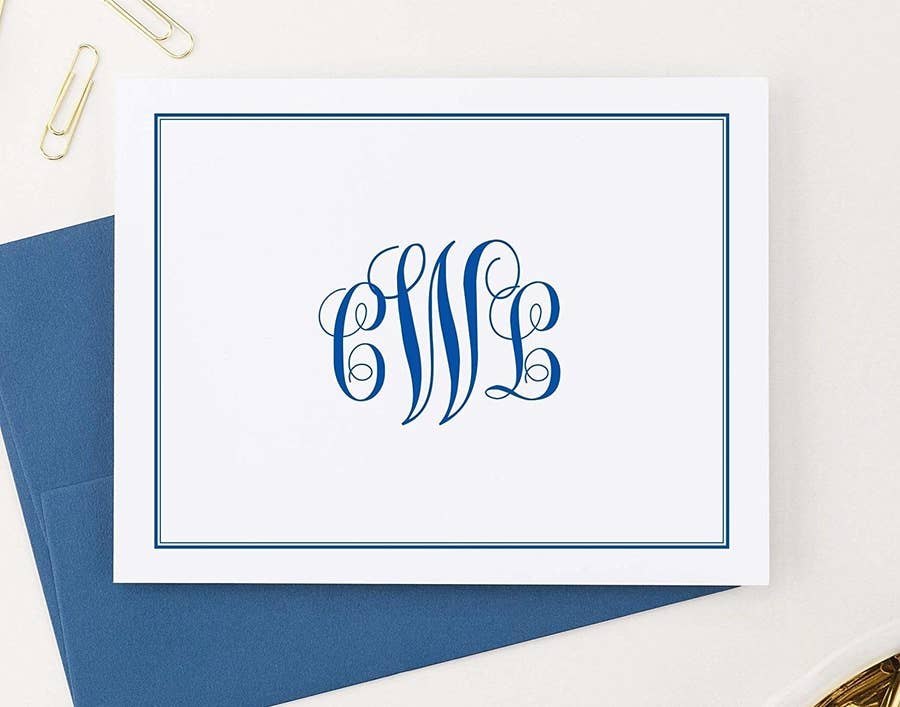 MASCULINE MONOGRAM 1-2- or 3-letter monogram stationery circle men/'s stationary set of 12 flat note cards personalized note card set