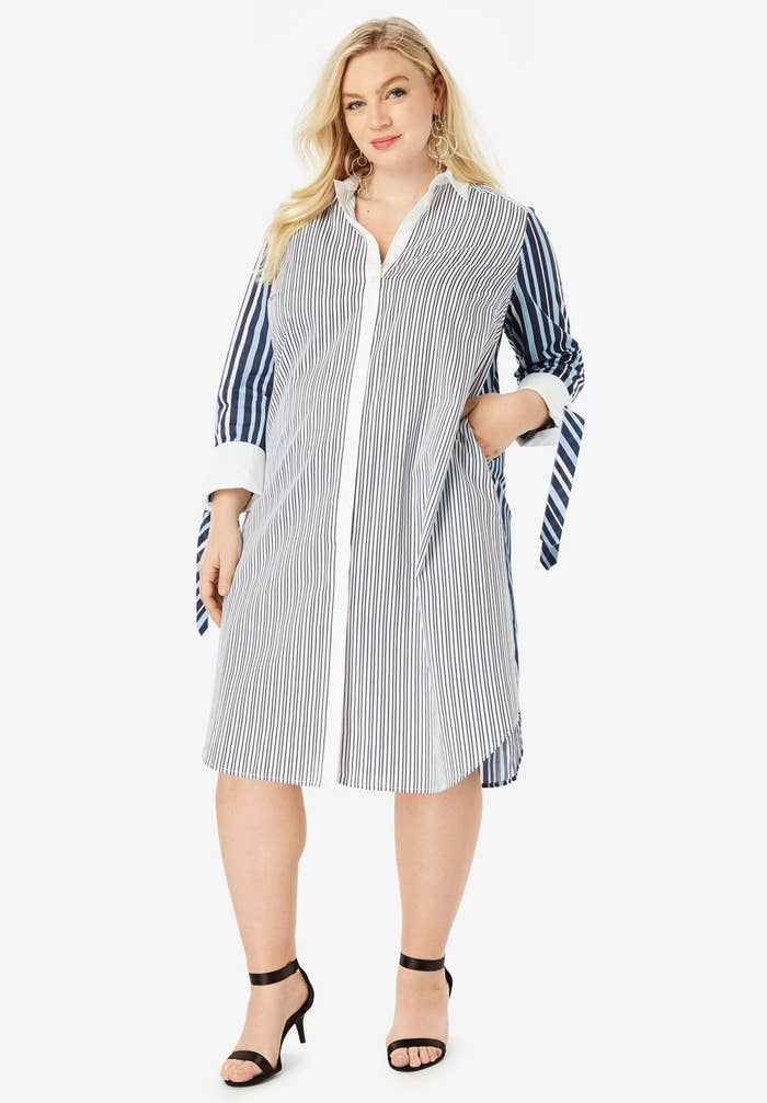"Promising review: ""I was so pleased with this shirt dress! It is so much prettier than pictured. It's very long, so you have the option to wear it with or without leggings. If you're on the fence, take a chance."" —PAULA A WGet it from Roaman's for $62.99 (available in sizes 12-32 and in four colors and patterns)."