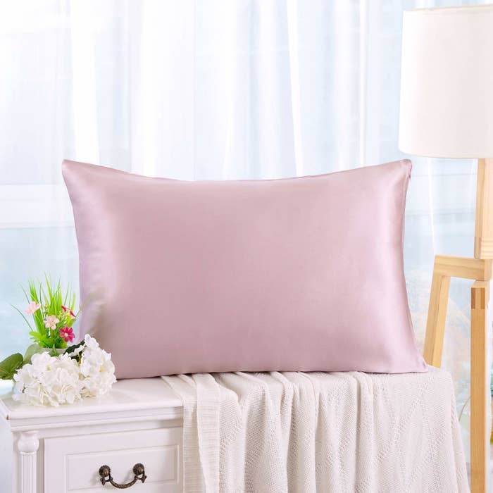 a smooth pillow on a nightstand