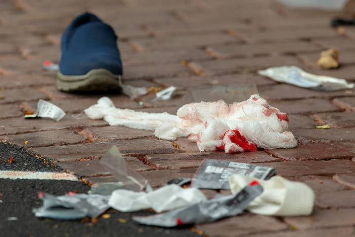 Bloodied bandages on the road following the shooting at the Al Noor mosque, on March 15.