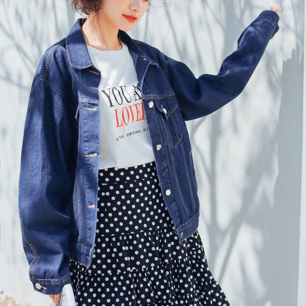 679c1b42f0d29d A oversized denim jacket that ll let you top off your favorite leggings in  order to make your  lazy day  looks seem a little more put-together.