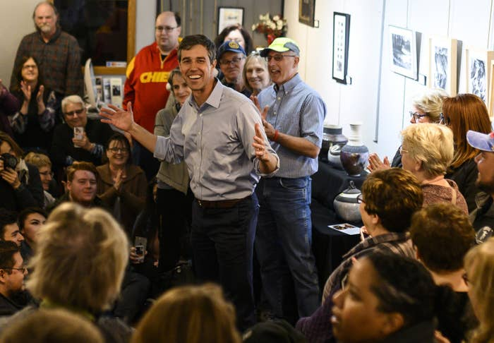 Beto O'Rourke at a campaign stop on March 15 in Washington, Iowa.
