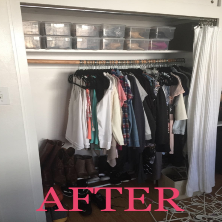 Reviewer's after picture with now double the free closet space