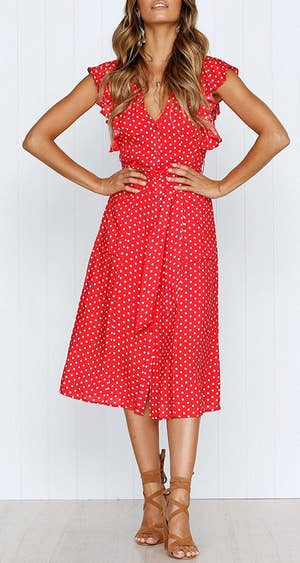 d42144c3222 A ruffle-sleeve polka-dot midi dress you can easily layer under a cozy  cardigan or pair with your favorite booties.