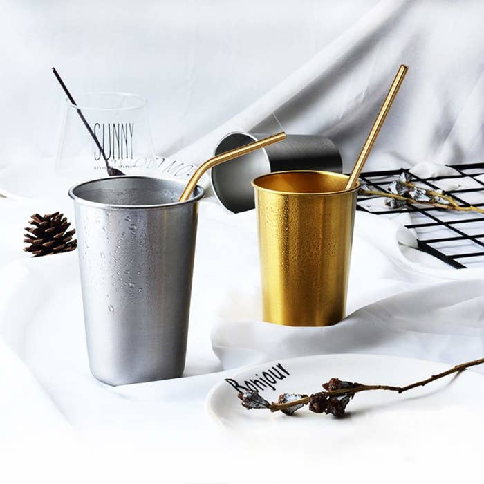 """It comes with both straight and bent straws, plus two brushes for easy cleaning. Promising review: """"I love these straws! They are long enough for any of my tumblers, both 20 ounce and 30 ounce. If I decided to get a 40 ounce, it would fit that too. The bent straws are at a perfect angle. The straight straws are great too. I mostly love how the liquid is cold all the way to my mouth, and no nasty plastic taste or feeling. Also no dish detergent taste or smell. Don't hesitate to get these."""" —BekkaPrice: $9.99+ (available in two lengths)"""