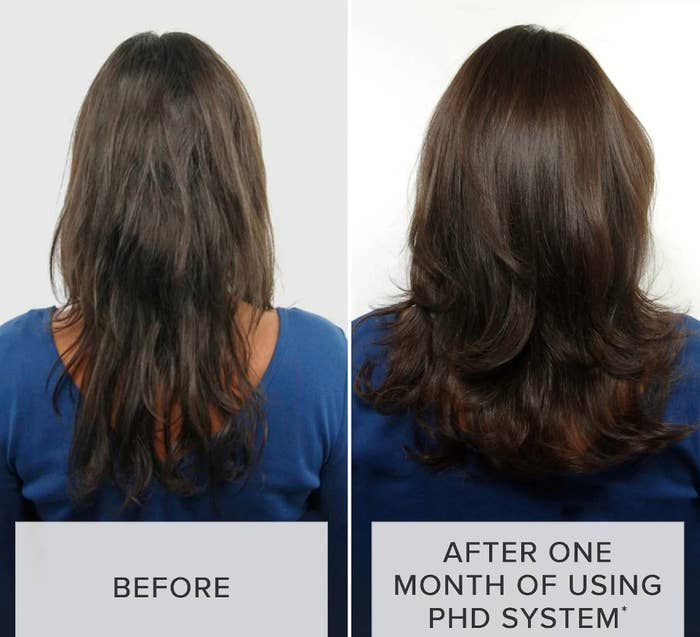 before/after of models hair using the product. the after photo shows shinier, healthier-looking hair.