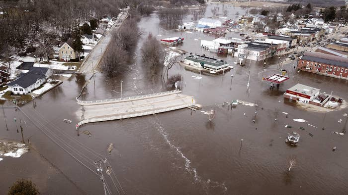 The swollen Pecatonica River spills into downtown Darlington, Wisconsin, on March 14.