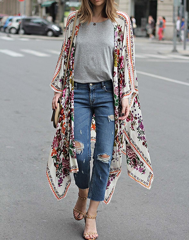 model wears floral cardigan