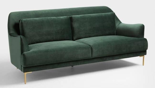 Britney may have room for tiny couches in her home, but you don't need them in yours. This couch is the same shape, length, and style of the couch I currently have in my one-bedroom apartment. The velvet-like fabric will feel super luxe, the thin legs will help the eye travel, and the arms look ready to nestle your neck when you just NEED to be horizontal (as I so often do on mine). Get it from World Market for $749.99.
