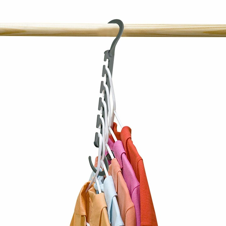 The same hanger folded down to show how those five hangers can be condensed and take up less space