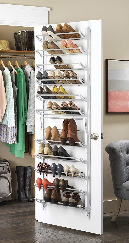 Over-the-door shoe rack in white colorway