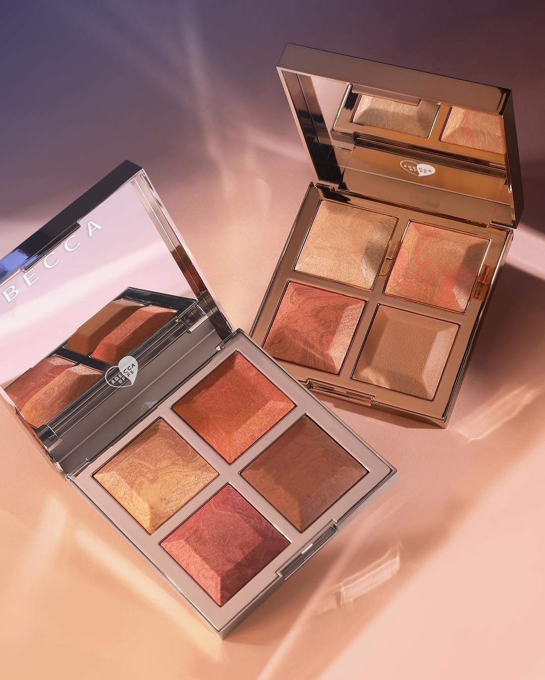 5eb89b9e316a Becca Cosmetics' collab with Khloé and Malika features two bronze, blush,  and glow palettes with four, gorgeous buildable shades. Because each  palette has a ...