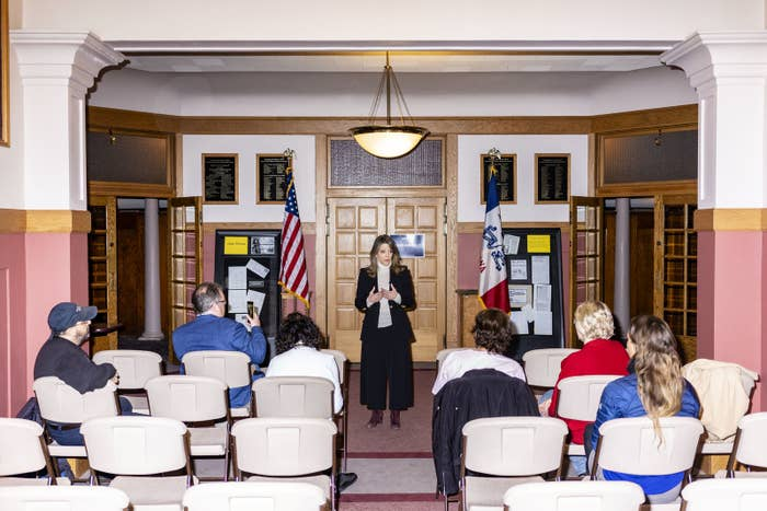 Marianne Williamson campaigns at the Donna Reed Theatre in Denison, Iowa, on March 2.