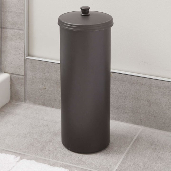 cylindrical oil rubbed bronze TP holder with lid