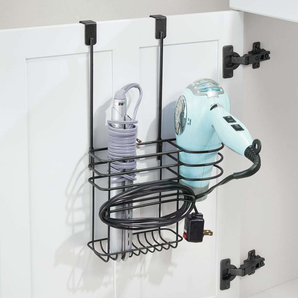 rack with holder especially for hair dryer, and additional slot for curling iron, flat iron, and brush