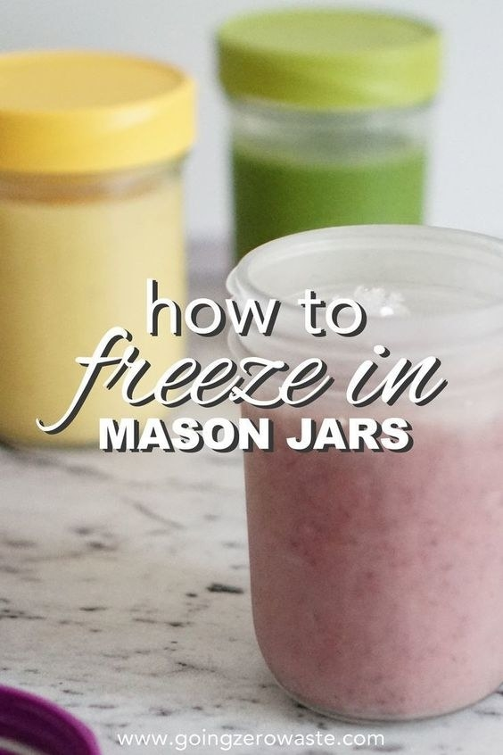 """You'll want to follow directions on how to leave enough space for liquids because glass can break when liquids expand in freezing temperatures.Loved this tip from the comments: """"To minimize ice crystals you should cool the food in the jar thoroughly before you freeze it. I usually place the jars in my fridge overnight and then place them in the freezer the next day."""""""