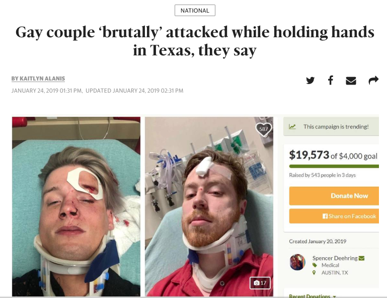 News headline: Gay couple brutally attacked while holding hands in Texas, they say