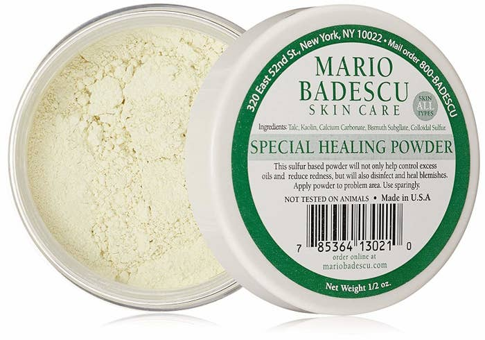 """And, unlike a ton of other """"setting powders"""" on the market, this cruelty-free option also won't clog your pores further — it'll actually give your skin some room to breathe and heal. If you want to use this under makeup, be sure to use it after you apply your morning moisturizer to prevent it from looking caked-on. You can also slather it on at night prior to hitting the hay and it'll help dry up acne and prevent inflammation! Promising review: """"This stuff is incredible! I have now been using it for three years and every time I get close to running out, I go and buy another one right away. I have adult moderate cystic acne and this stuff really calms it down and helps with redness. Anytime I feel like I am getting a pimple or can see the under-the-skin bump, I will lather this healing powder all over it all day long. Definitely a go-to product and I highly recommend to anyone who suffers from incredibly painful and stubborn cystic acne."""" —justanothercollegestudentPrice: $12"""