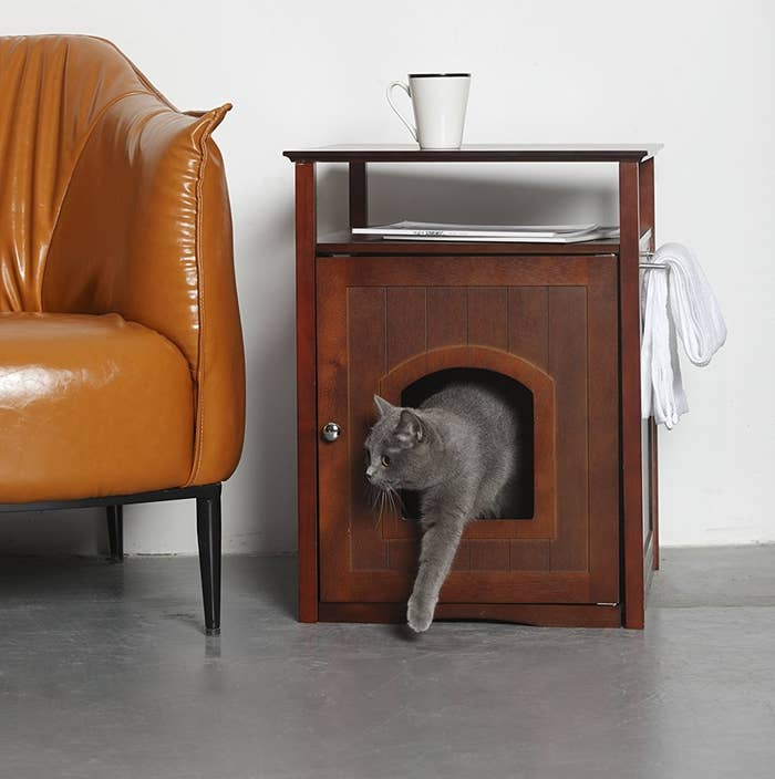 """Promising review: """"I can't recommend this enough to anyone looking to purchase an elegant solution for hiding the worst part of owning a cat. The darn thing looks so beautiful. A throne for your cat(s) and guests will barely notice it's there. You can place items on top of the night stand and it also has a small rack where you can place towels, etc. We placed flowers on top and hung a charcoal bamboo deodorizer next to it. —AmazonMunchiesGet it from Amazon for $82.61+ (also available in white)."""