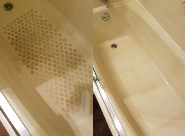 A customer review photo showing their bathtub before and after using the remover