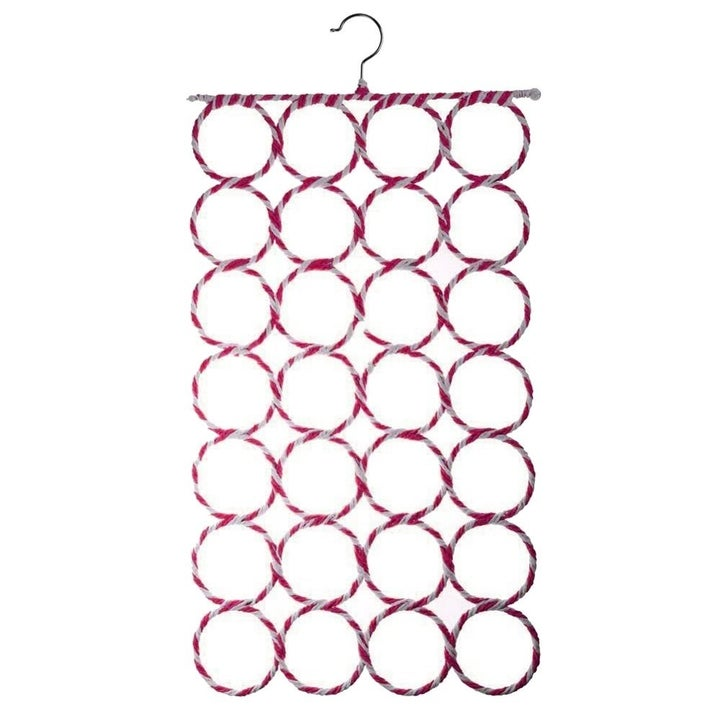 Hanger-topped organizer with 4 rows of 7 yarn-covered circles attached together