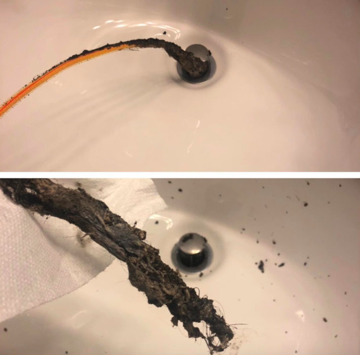 A customer review photo showing the gunk they pulled out of their drain