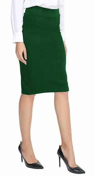 2cbdfcd40d A midi pencil skirt with an elastic waistband for all-day comfort in the  office or a professional event.