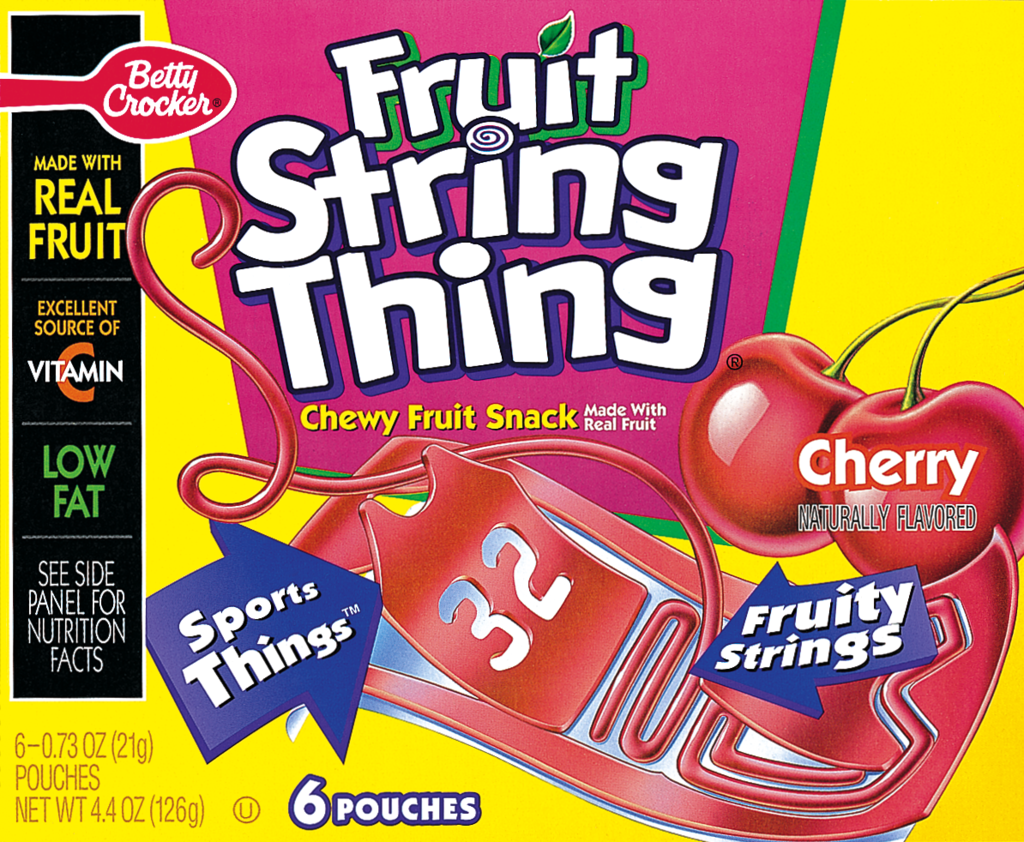 box cover of cherry flavored Fruit String Thing