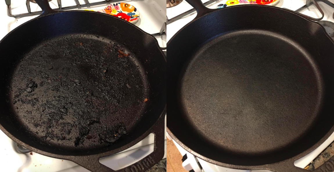 A before and after customer review photo of their dirty and then clean cast iron pan.