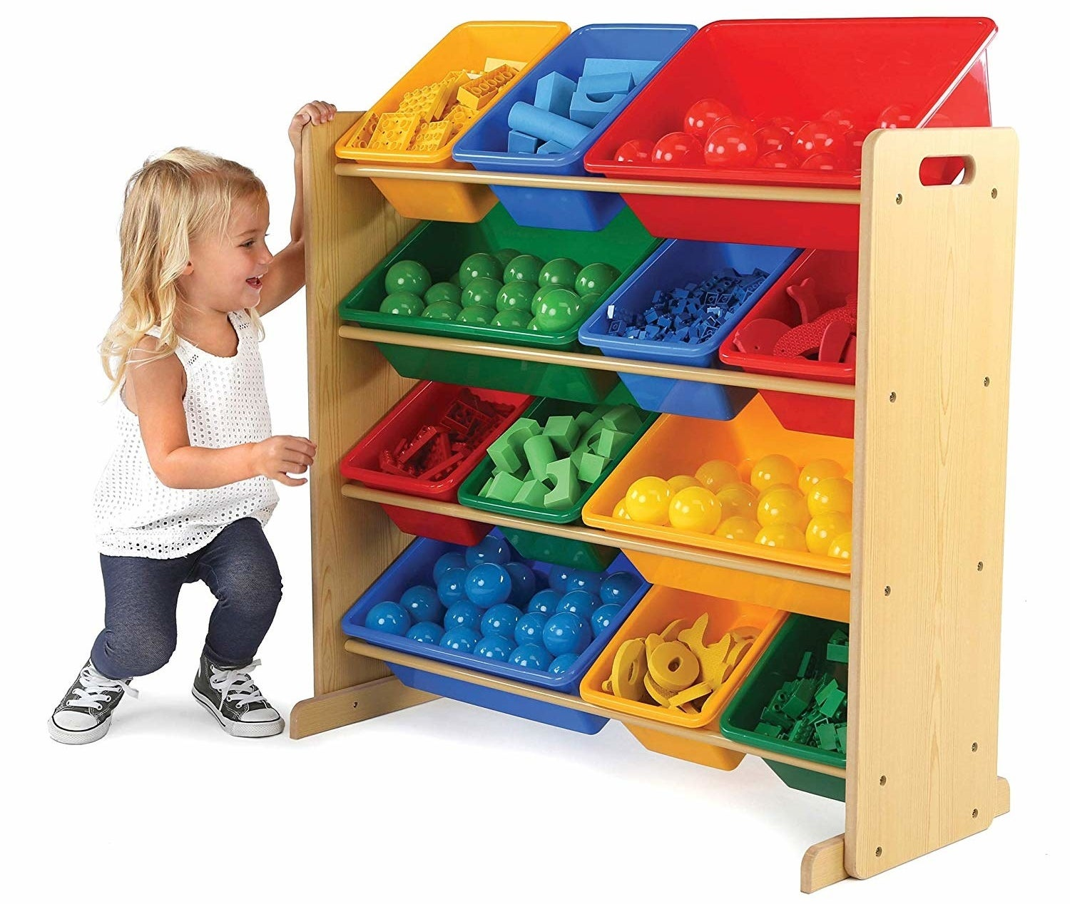 A toddler next to the shelf with four rows of space for the containers