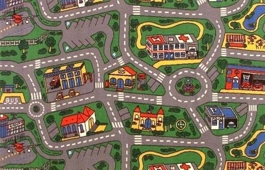 Kids city and road rug
