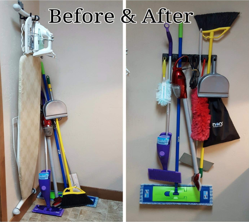 before: pile of brooms and Swiffers in a corner; after: the whole lot hung up on a wall, so it's easy to get to