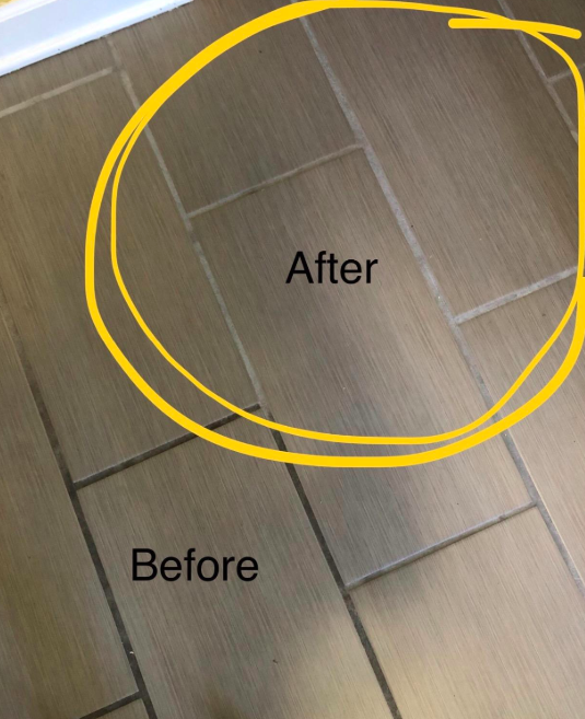 A customer review photo showing the progress on her grout