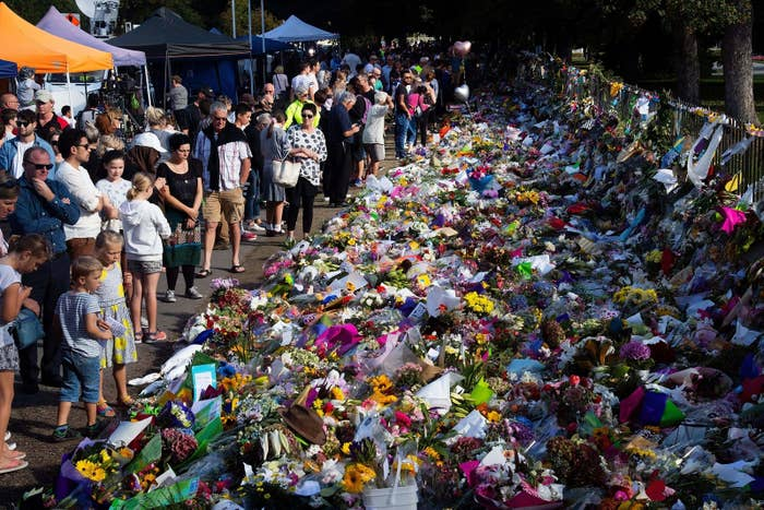 Floral tributes at Christchurch's Botanic Gardens on Tuesday.