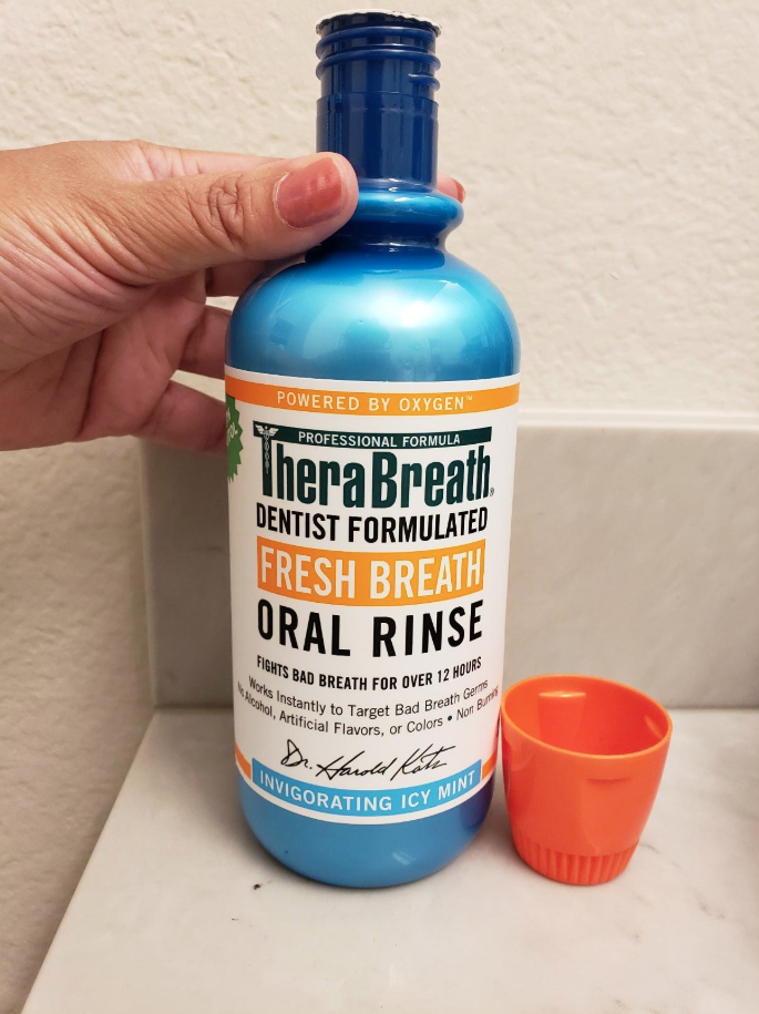 Reviewer image of TheraBreath oral rinse in icy mint flavor