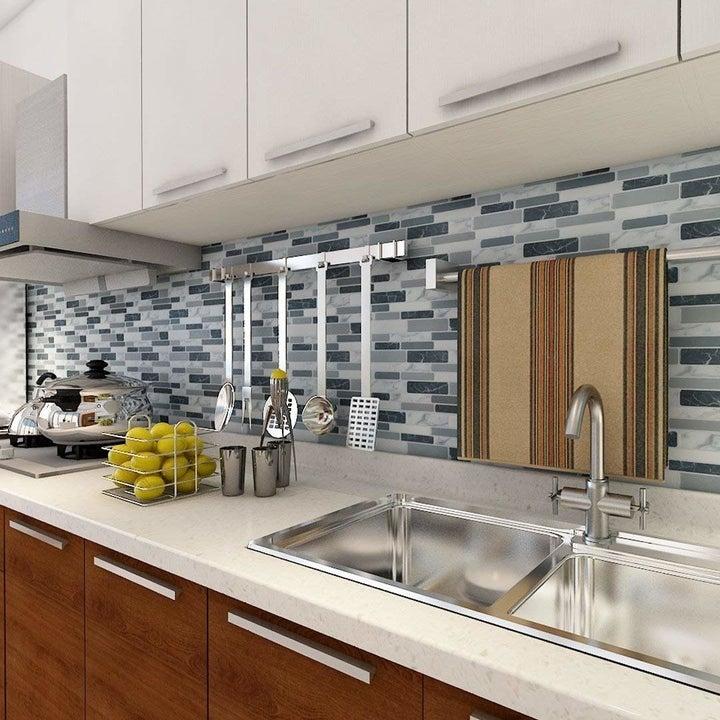 The backsplash installed in a kitchen