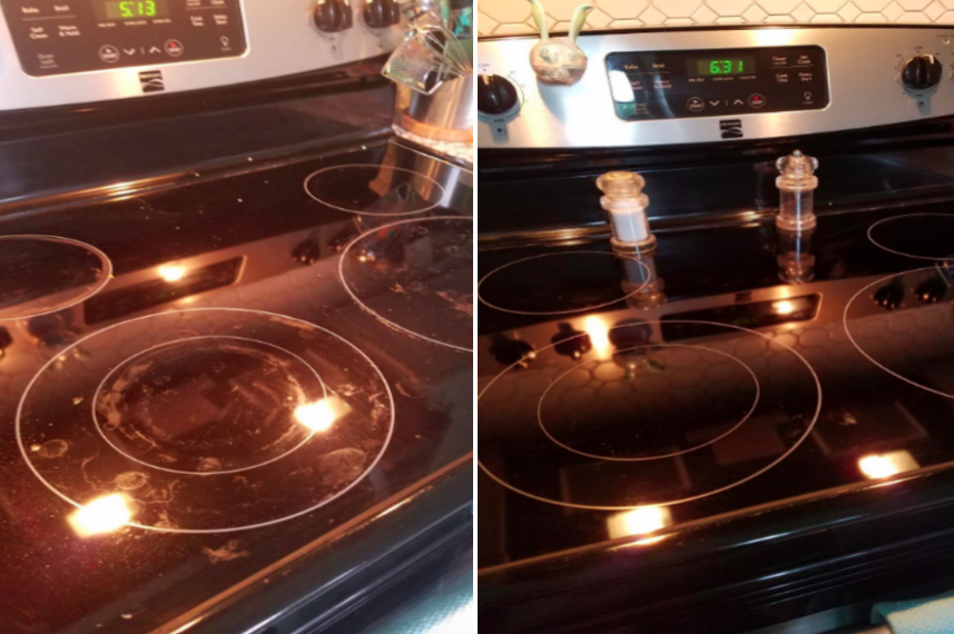 Before/after pic of reviewer's stovetop. The after photo shows a clean, grease-free cooktop.