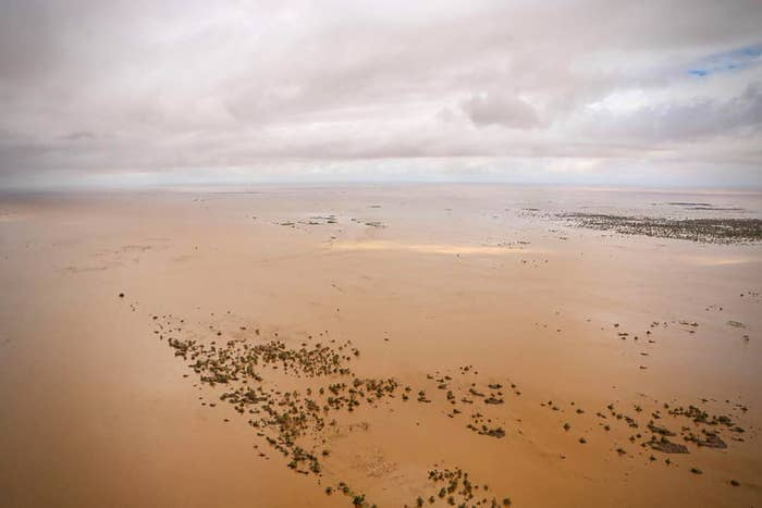 An aerial view shows the flooded plain surrounding Beira on March 20, after the passage of Cyclone Idai.