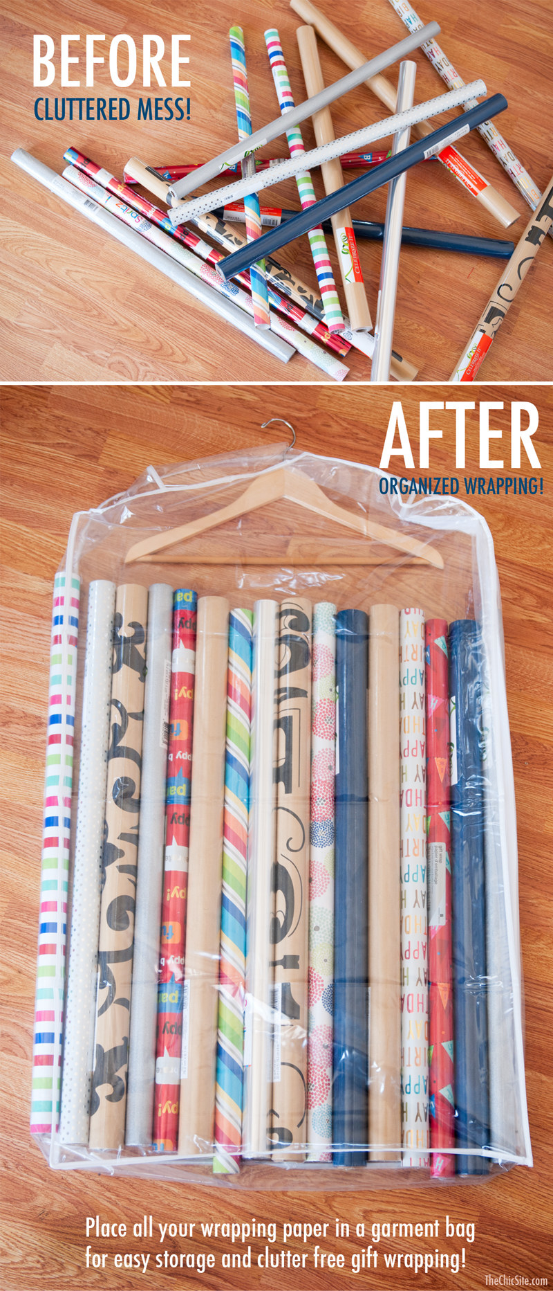 before: wrapping paper rolls in a messy pile and after: wrapping stashed vertically in a garment bag, with a hanger in the top