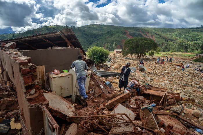 A man cleans up a destroyed house in Chimanimani on March 19.