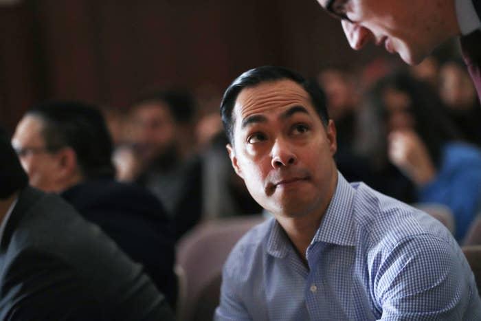 Julián Castro at Bell Gardens High School on March 4 in Bell Gardens, California.