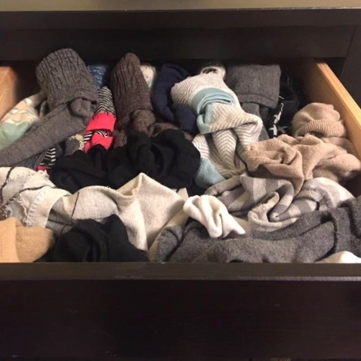 before: drawer of socks all in a messy pile