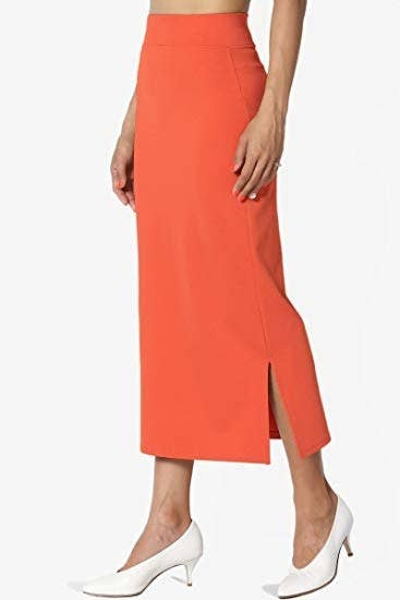 11117920c3e5 A vibrant long side-split pencil skirt with a high waist you can wear any  time of year, especially if you're looking to add some color to your  wardrobe.