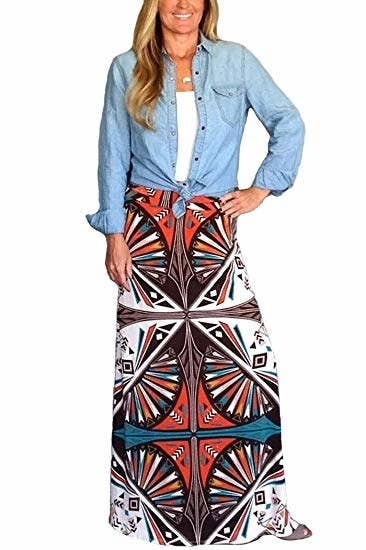 08255e6b74 And a bohemian maxi skirt for the ultimate free spirit vibes! It'll pair  well with anything like a tank top, turtleneck, or a denim shirt. Amazon